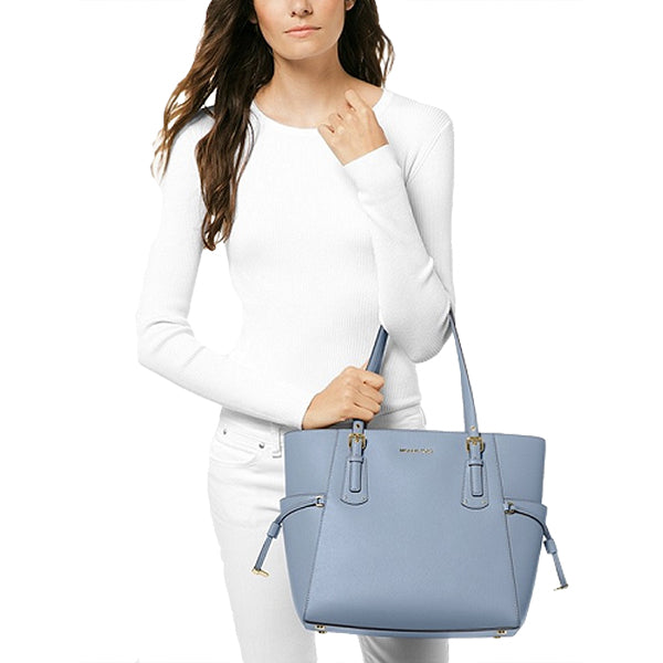 Voyager Small Crossgrain Leather Tote Bag, MICHAEL Michael Kors, 30H7GV6T9L, Model, Pale Blue