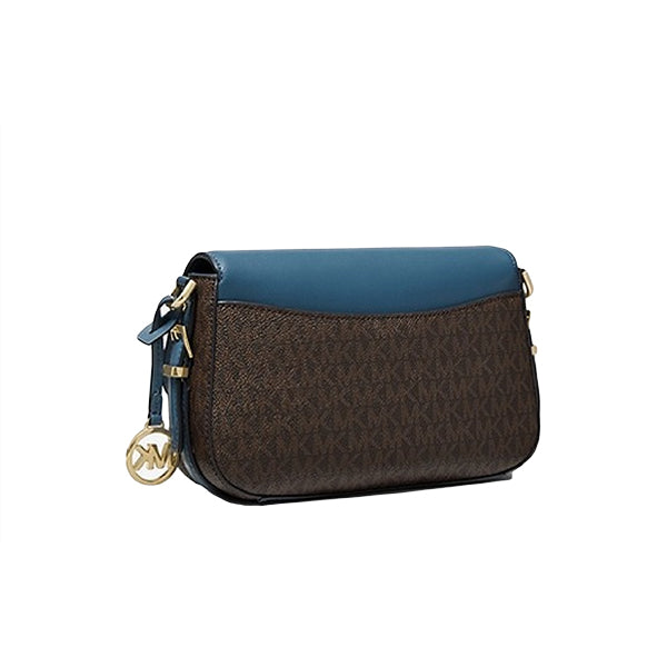 Bedford Legacy Large Logo and Pebbled Leather Crossbody Bag, Michael Kors, 32H9G06C3B, Back, Blue/Brown