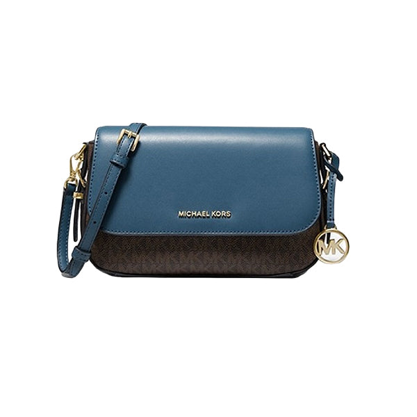 Bedford Legacy Large Logo and Pebbled Leather Crossbody Bag, Michael Kors, 32H9G06C3B, Main, Blue/Brown