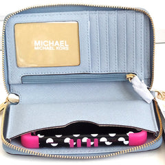 Michael Kors Fulton Large Flat Multi Function Leather Phone Case Pale Blue - Gifts Are Blue - 3