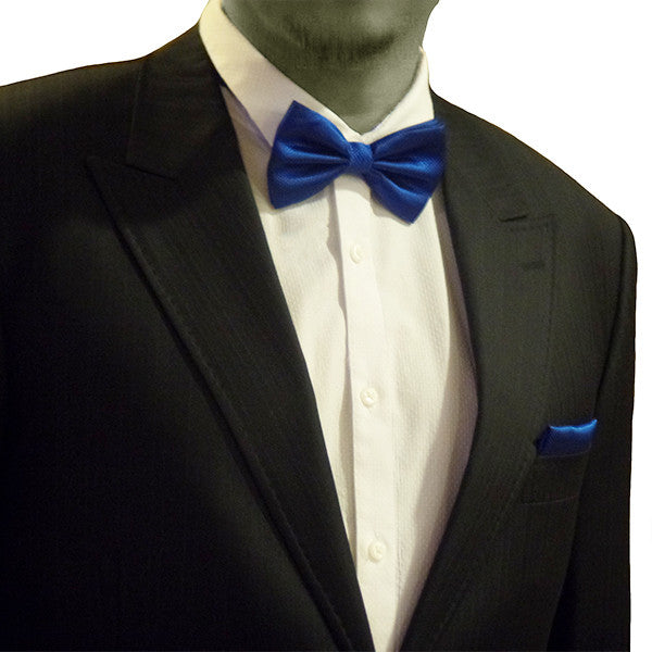 Solid Matching Pre-Tied Bow Tie and Pocket Square Sets for For Formal Events - Gifts Are Blue - 1