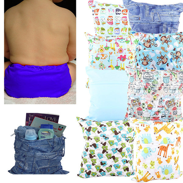 Waterproof Double Zipper Wet Dry Reusable Diaper Bag - Gifts Are Blue - 3