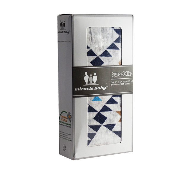Soft and Versatile 100% Muslin Cotton Swaddle Pre-Washed Blankets, Large, 47 x 47, Geometric Pattern - Gifts Are Blue - 1