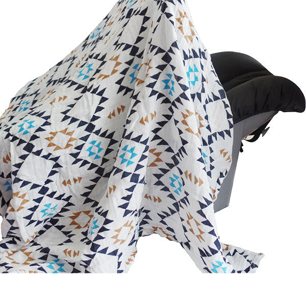 Soft and Versatile 100% Muslin Cotton Swaddle Pre-Washed Blankets, Large, 47 x 47, Geometric Pattern - Gifts Are Blue - 2