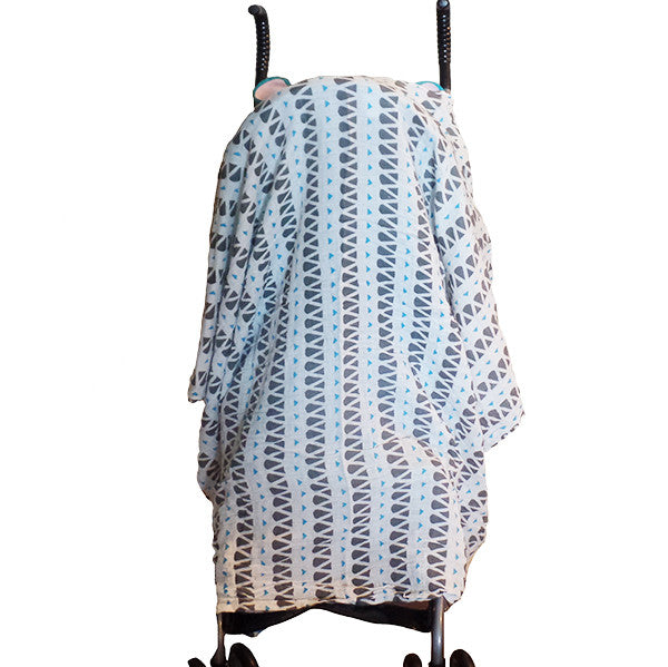 Soft and Versatile 100% Muslin Cotton Swaddle Pre-Washed Blankets, Large, 47 x 47, Geometric Pattern - Gifts Are Blue - 4