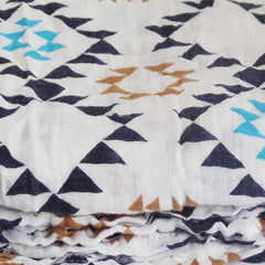 Soft and Versatile 100% Muslin Cotton Swaddle Pre-Washed Blankets, Large, 47 x 47, Geometric Pattern - Gifts Are Blue - 3