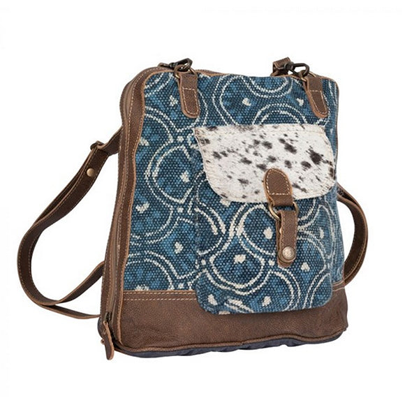 Blue Aurora Backpack Bag, Medium, Myra Bag S-2229, Side view
