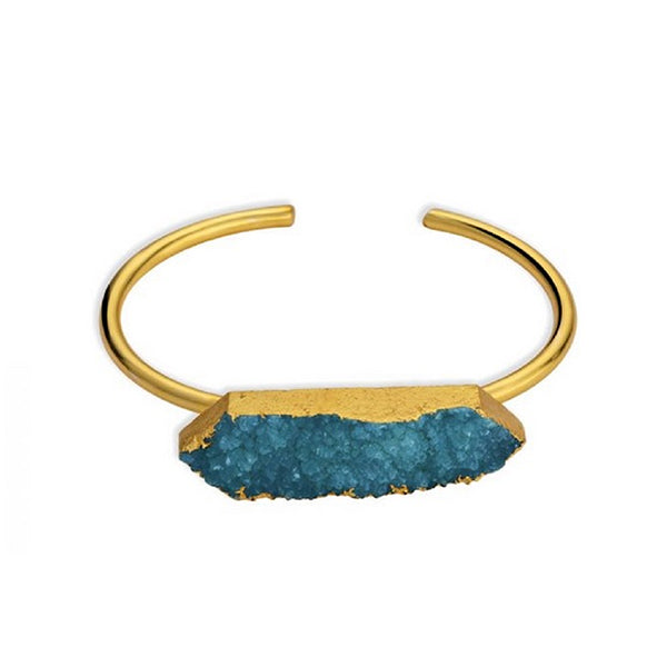 Womens Handcrafted Deep Sea Gold Tone Bracelet, Main, Myra Bags, Turquoise Blue
