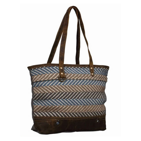 Extravagant Tote Bag, Large, Blue, Myra Bags, S-2109, Sideview