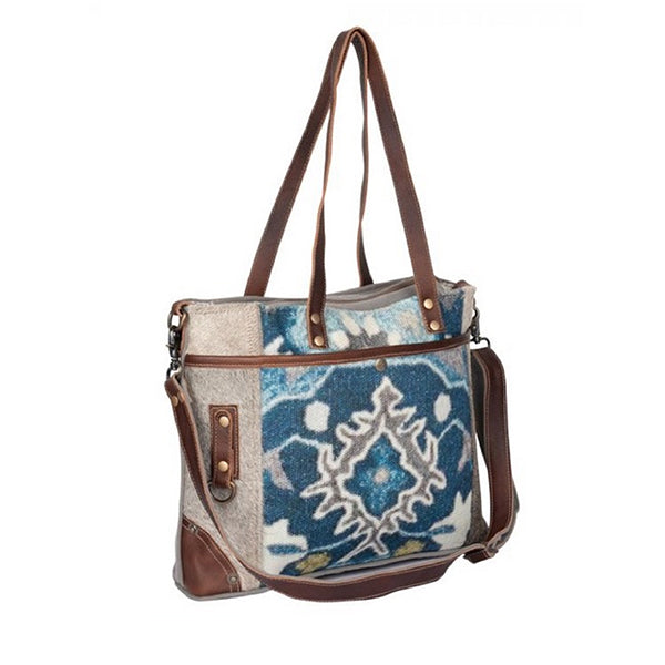 Iridescent Tote Bag, Medium, Blue, Myra Bags - S-2175, Sideview