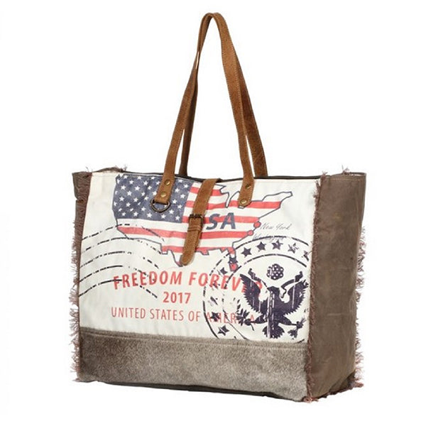 Myra Bags Freedom Forever Partisan Weekender Bag, Xlarge Capacity - S-1273, Sideview