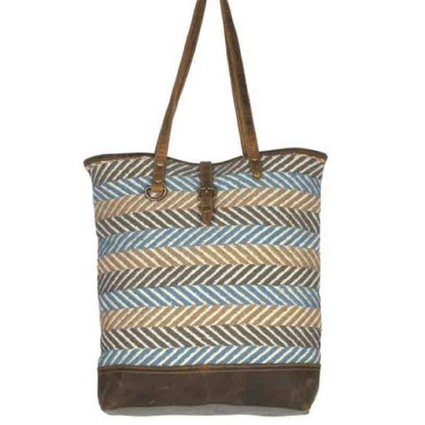 Myra Bags Serene Tote Bag, Medium, Blue, S-2092, Alt view