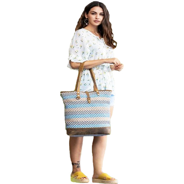Myra Bags Serene Tote Bag, Medium, Blue, S-2092, Model