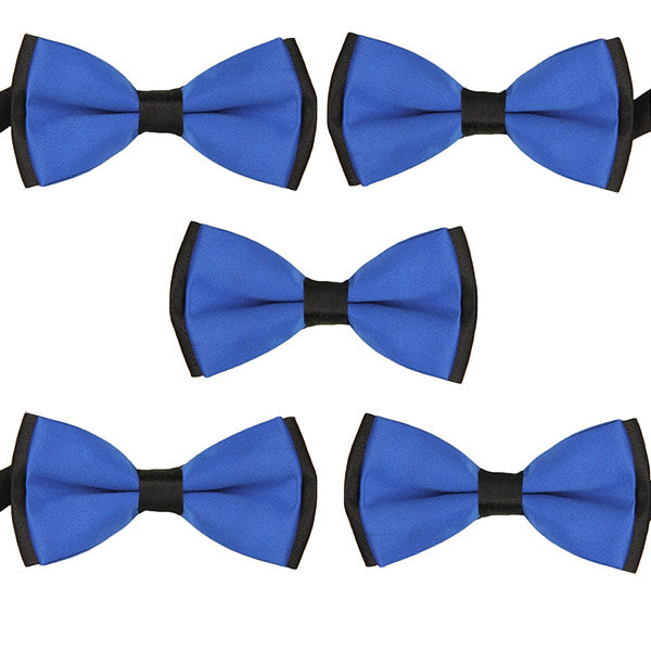 Mens Blue and Black Formal Event Pre-Tied Bow Ties Sets - Gifts Are Blue - 5