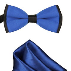 Mens Blue and Black Formal Event Pre-Tied Bow Tie and Pocket Square - Gifts Are Blue - 3