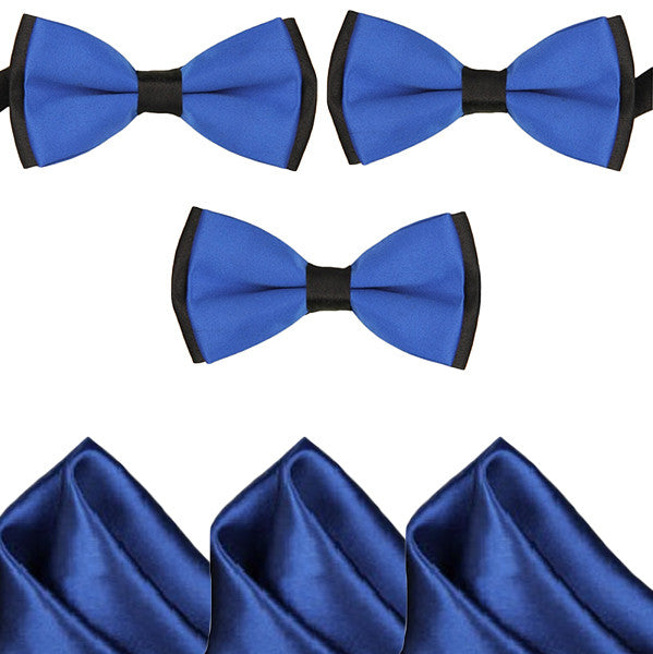 Mens Blue and Black Formal Event Pre-Tied Bow Ties and Pocket Square Sets - Gifts Are Blue - 1