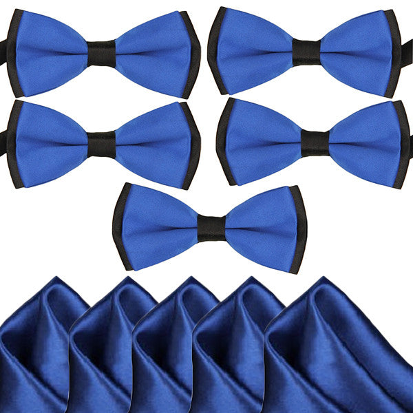 Mens Blue and Black Formal Event Pre-Tied Bow Ties and Pocket Square Sets