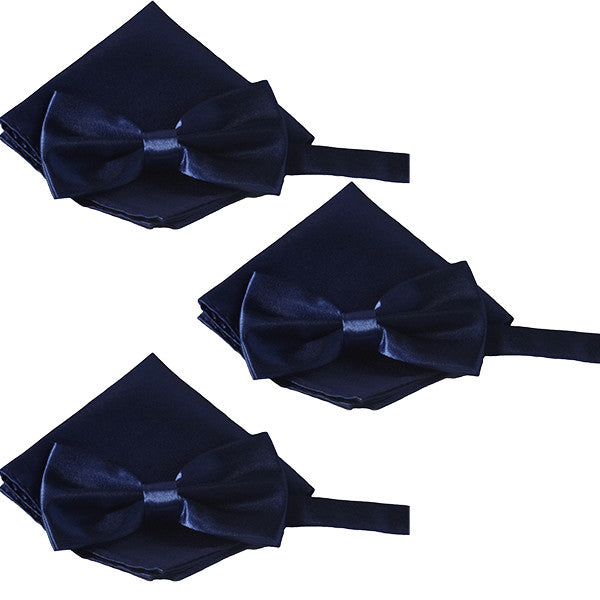 Mens Smooth Satin Feel Formal Pre-Tied Bow Tie and Pocket Square Sets - Gifts Are Blue - 3