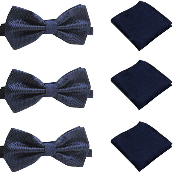 Solid Matching Pre-Tied Bow Tie and Pocket Square Sets for For Formal Events - Gifts Are Blue - 4