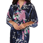 Medium Length Womens Silk Robes Kimono - Lightweight - Gifts Are Blue, Navy Blue