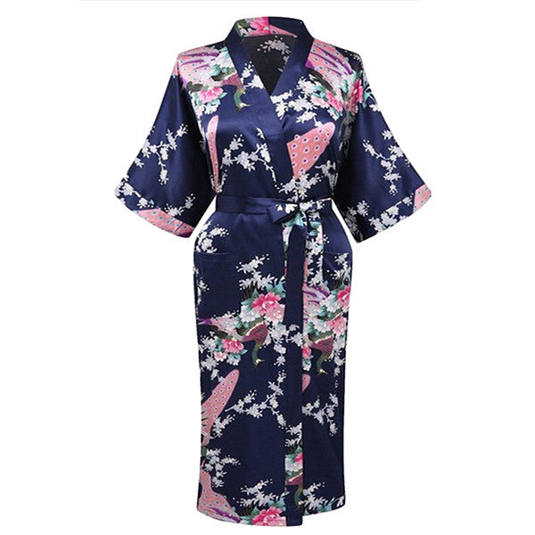 Elegant Long Floral Silk Kimono Womens Robe, Small to 3XL - Gifts Are Blue - 3