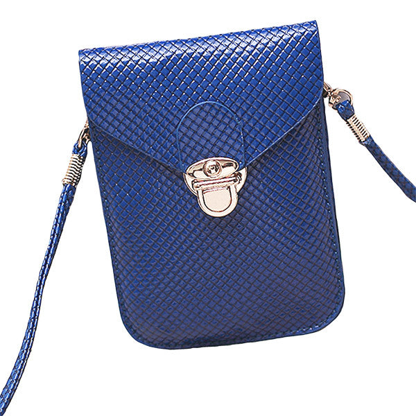 Grid Pattern Messenger Purse - Gifts Are Blue - 4