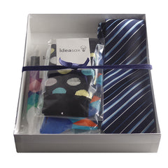 Mens Serious Tie and Whimsical Colorful Socks Gift Sets - Gifts Are Blue - 7