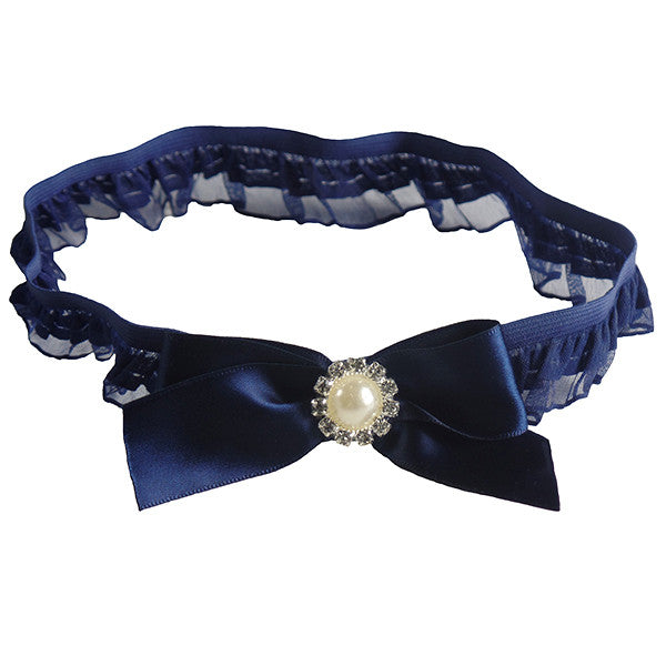 Navy Blue Wedding Garter with Elegant Rhinestone