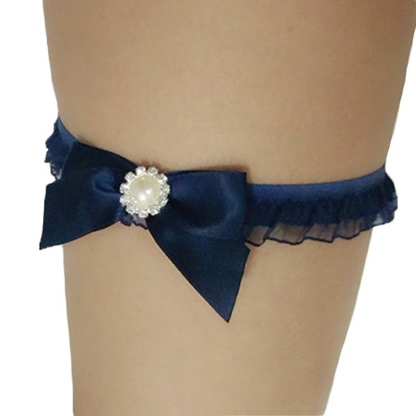 Copy of Navy Blue Plus Size Garter with Elegant Rhinestone - Gifts Are Blue - 2