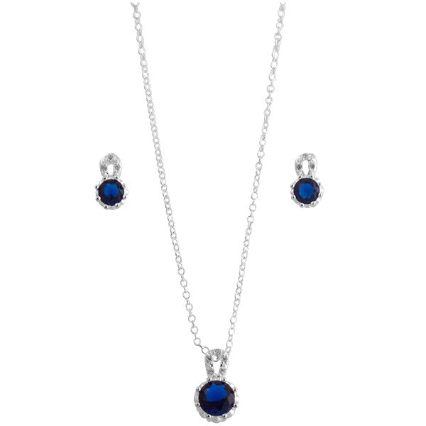 Elegant Blue Crystal Sterling Silver Jewelry Set, Necklace and Earrings - Gifts Are Blue - 2