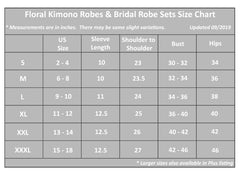 Medium Length Kimono Robes Size Guide, all SKUs