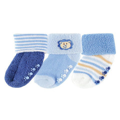 Luvable Friends 3 Pack Newborn Baby Socks, Stays On, Stretchable, Non Skid Soles - Gifts Are Blue - 1