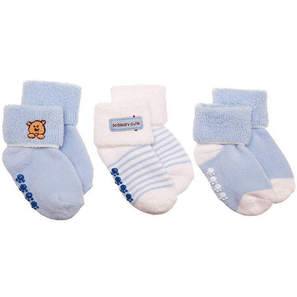 Luvable Friends 3 Pack Newborn Baby Socks, Stays On, Stretchable, Non Skid Soles - Gifts Are Blue - 2