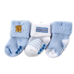 Luvable Friends 3 Pack Newborn Baby Socks, Stays On, Stretchable, Non Skid Soles - Gifts Are Blue - 3