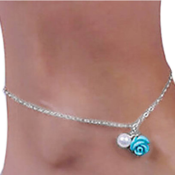 Ocean Blue Rose Anklet Jewelry with Pearl Drop - Gifts Are Blue - 2