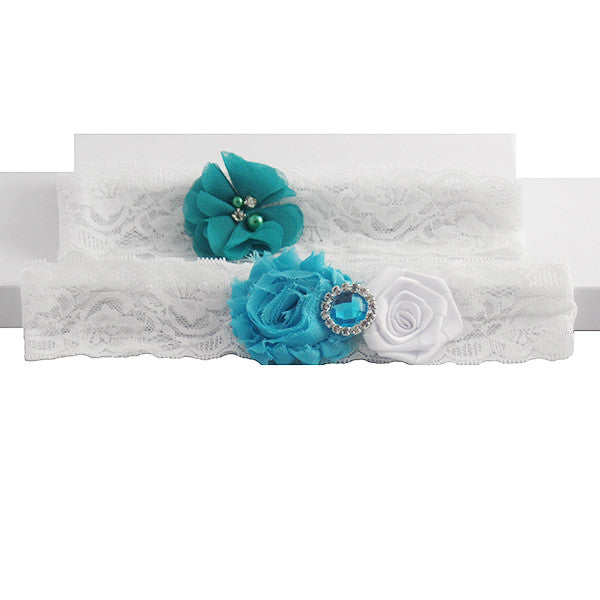 Ocean Theme Wedding Garter Lace Set - Gifts Are Blue - 1