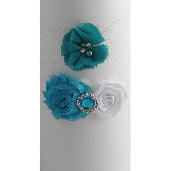 Ocean Theme Wedding Garter Lace Set - Gifts Are Blue - 2