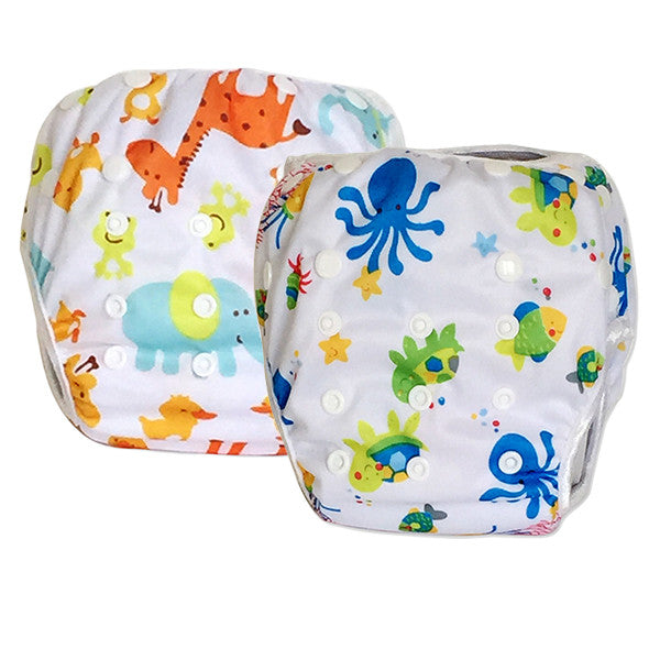2 Pack Leakproof Reusable Swim Diapers, 0 to 3 years - Gifts Are Blue - 1