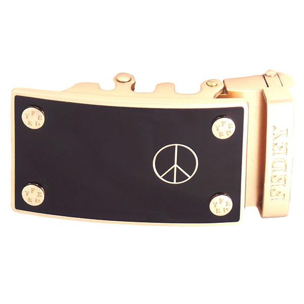 FEDEY Statement Buckles for Ratchet Belt, Gold, Peace