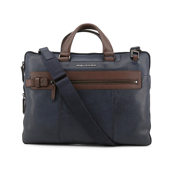 Piquadro Mens Leather Laptop Briefcase with Removable Shoulder Strap, Main, Blue
