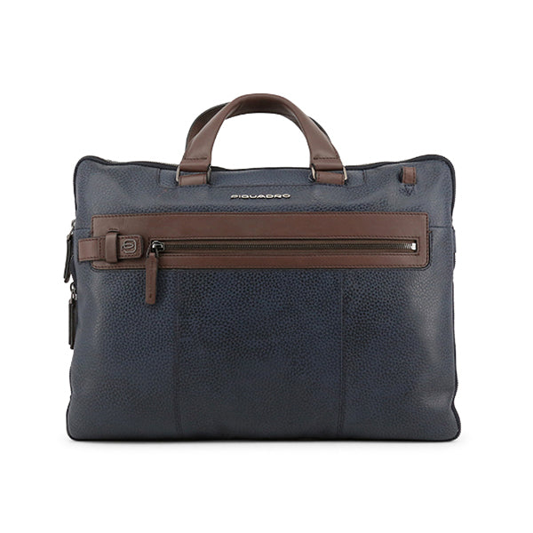 Piquadro Mens Leather Laptop Briefcase, Front, Blue