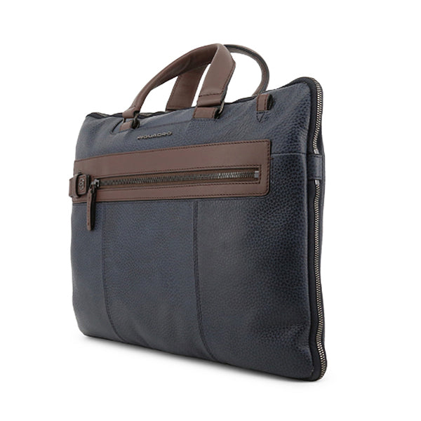 Piquadro Mens Leather Laptop Briefcase, Sideview, Blue