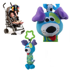 Plush Blue Dog Hand Rattle Toy for Baby - Gifts Are Blue - 4
