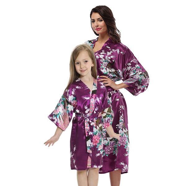 Purple Mommy and Me Robes, Floral, Satin, Main, all SKUs