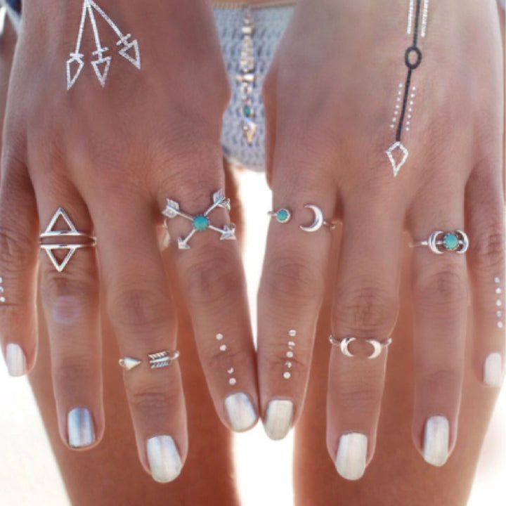 Ring Set Stylish Vintage Boho Ring Set Arrow 6pcs Main