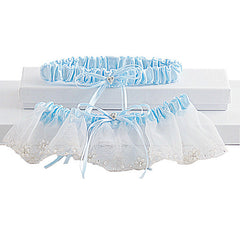Romantic Organza Bridal Garter Set With Crystals - Gifts Are Blue - 1