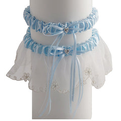 Romantic Organza Bridal Garter Set With Crystals - Gifts Are Blue - 2