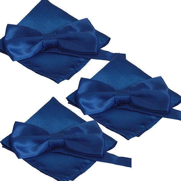 Mens Smooth Satin Feel Formal Pre-Tied Bow Tie and Pocket Square Sets - Gifts Are Blue - 5