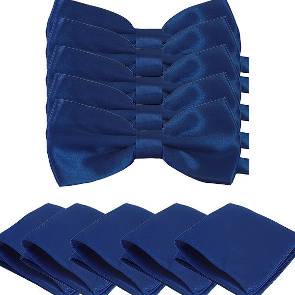 Mens Smooth Satin Feel Formal Pre-Tied Bow Tie and Pocket Square Sets - Gifts Are Blue - 6