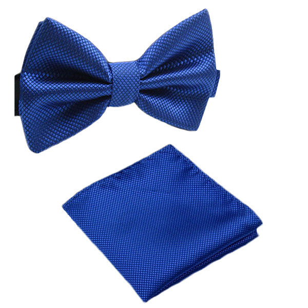 Solid Matching Pre-Tied Bow Tie and Pocket Square Sets for For Formal Events - Gifts Are Blue - 7